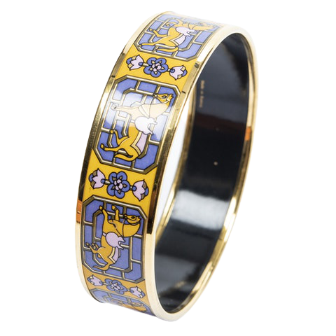 Enamel Bangle MM in Yellow/Purple Stainless Steel without Nickel