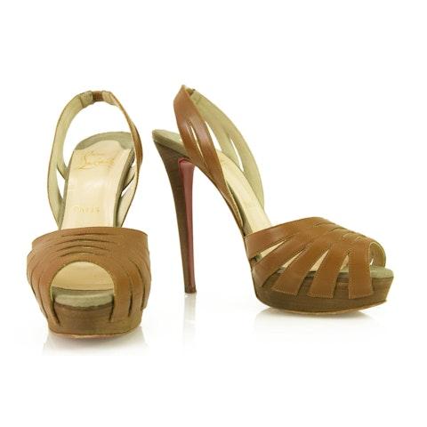 Tan Cut Out Slingback Peep Toe Platform Sandal Pumps