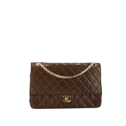 Brown Medium Calfskin Classic Double Flap Bag