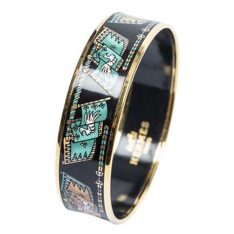 Enamel Bangle MM in Black/Mint Stainless Steel without Nickel