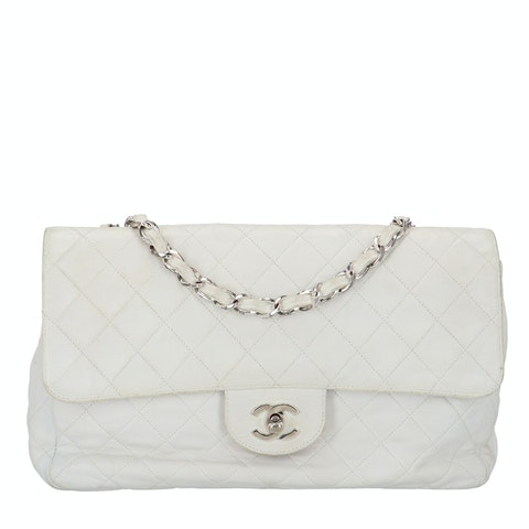 Chanel White Lambskin Classic Double Flap Bag