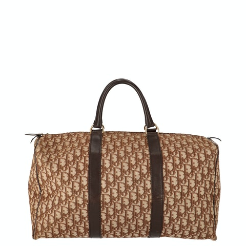 Brown Jacquard Canvas Boston Bag
