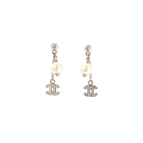 Gold-Toned 'CC' Pearl Earrings