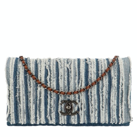 Blue Wash Denim Medium Full Flap Bag