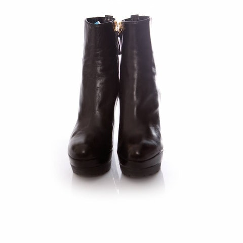 Sergio Rossi, Black leather platform boots in size 37.