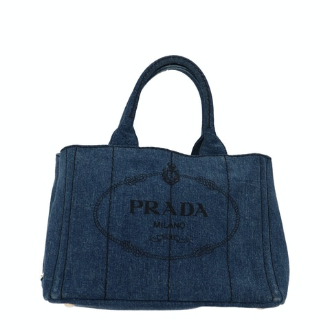 Blue Wash Printed Denim Tote