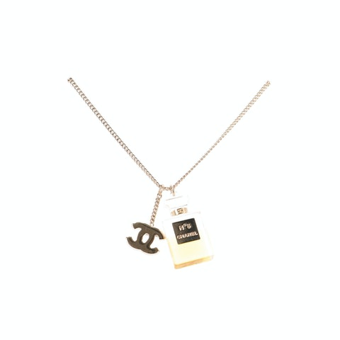 Gold-Toned 'CC' Pendant Necklace