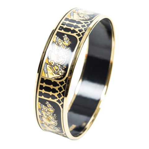 Enamel Bangle MM in Gold/Black/Greyyyyy Stainless Steel without Nickel