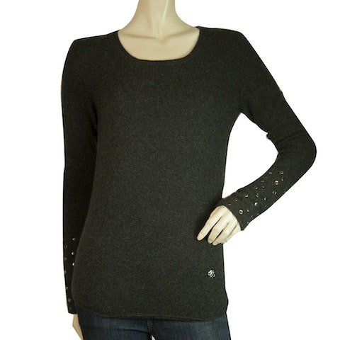 Gray Cashmere Knit Studded Sleeves Fitted Sweater