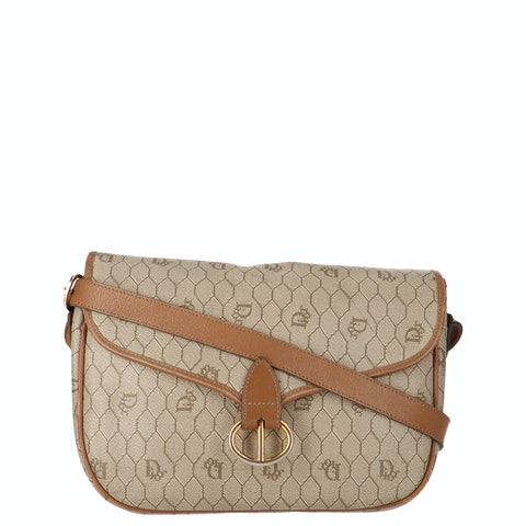Brown Honeycomb Coated Canvas Crossbody