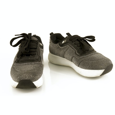Sport Silver Fabric Platform Sneakers Trainers 37 Black trimming