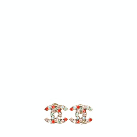 Silver-Toned Small 'CC' Rhinestone Earrings