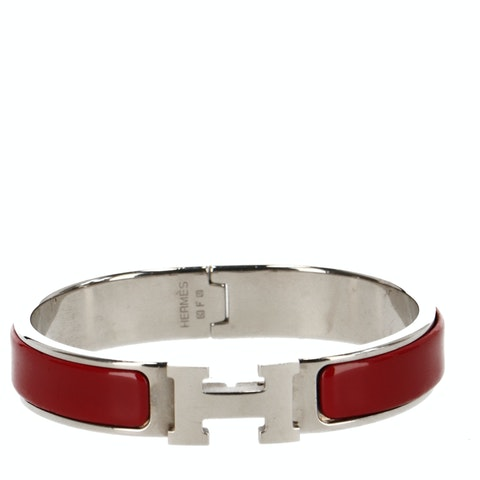 Red Enamel and Silver-Toned Clic Clac H Bracelet
