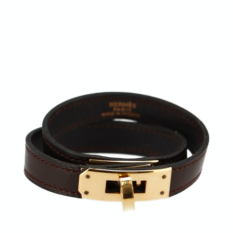 Brown Calfskin and Gold-Plated Kelly Double Tour Bracelet