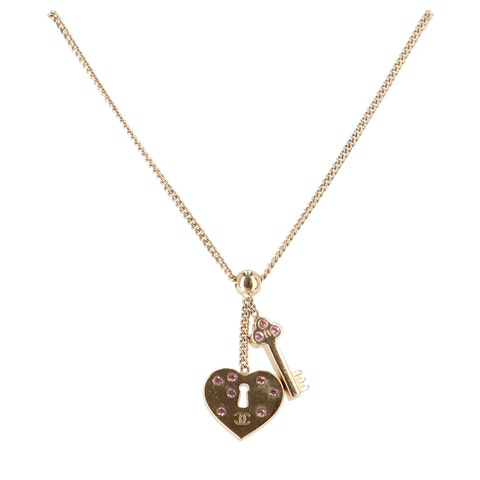 Gold-Toned Lock and Key Necklace