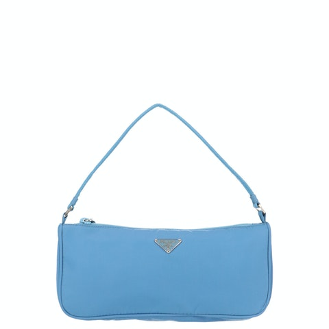 Blue Nylon Shoulder Bag