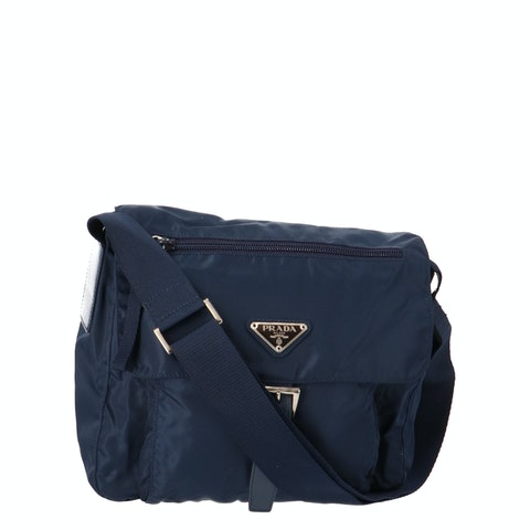 Blue Nylon Small Messenger