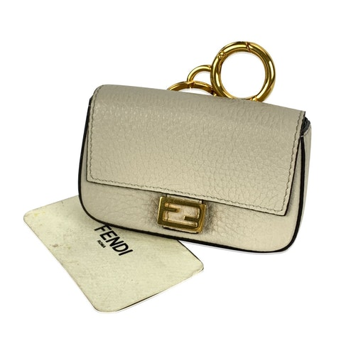 Fendi Roma Amor Off-White Latte Leather Nano Baguette Bag Charm