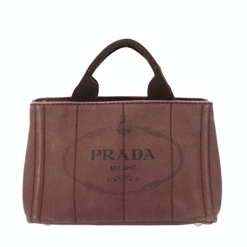 Prada Brown Printed Canvas Tote