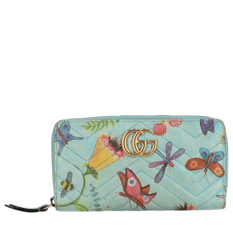 Blue Jeanie's Garden GG Marmont Zip-Around Wallet
