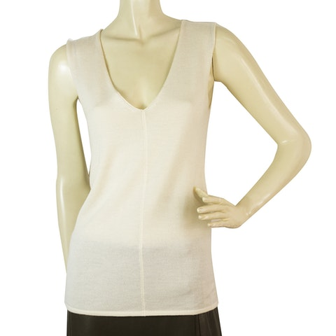 Off White Silk Cashmere Sleeveless knit blouse
