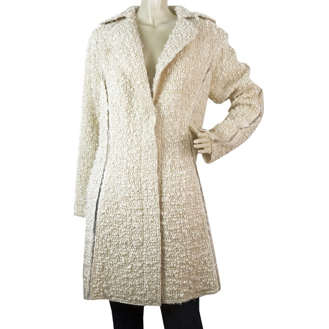 Off White Wool Blend Boucle Gold Thread Button Front Coat