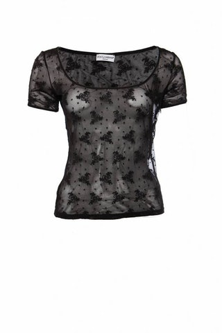 Dolce & Gabbana intimate, black transparent top with flowers in size L/IT44.