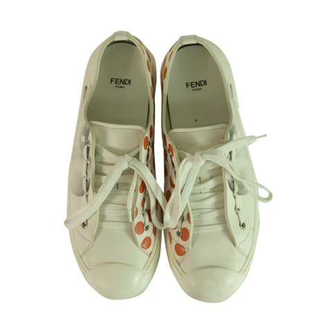 White Leather Gray Orchid Orange Polka Dots Trainers Sneakers