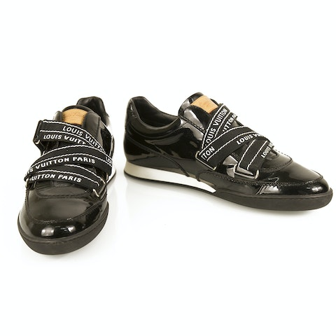 Black Patent Leather Sneakers Trainers with Velcro straps