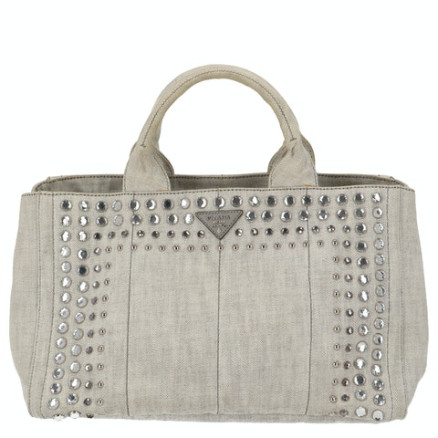 Grey Crystal Embellished Denim Tote