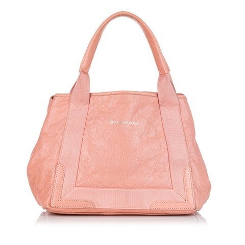 Navy Cabas S Leather Tote Bag