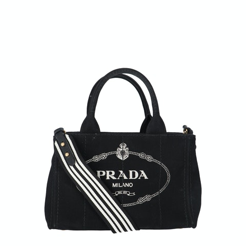 Prada Black Printed Canvas Tote