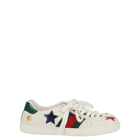 White Leather Ace Star Sneakers
