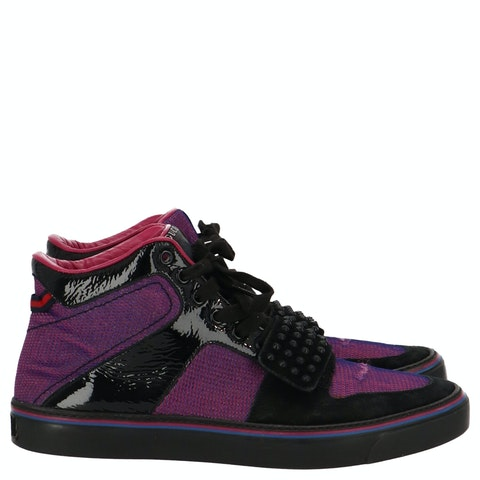 Purple Men's High-Top Sneakers