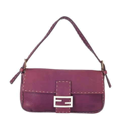 Fendi Purple Leather Baguette