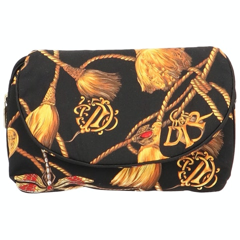 Black Printed Fabric Cosmetic Pouch