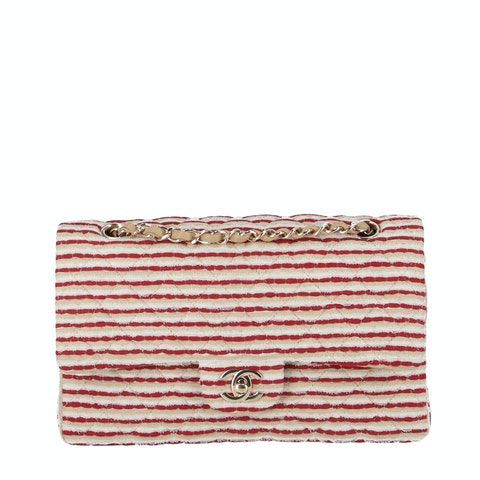 Red Fabric Specialty Flap Bag
