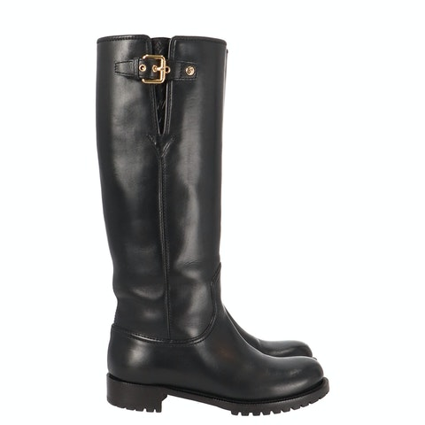 Black Leather Knee-High Riding Boots
