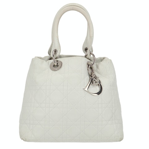 White Leather Soft Lady Dior