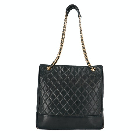 Black Calfskin Quilted Tote