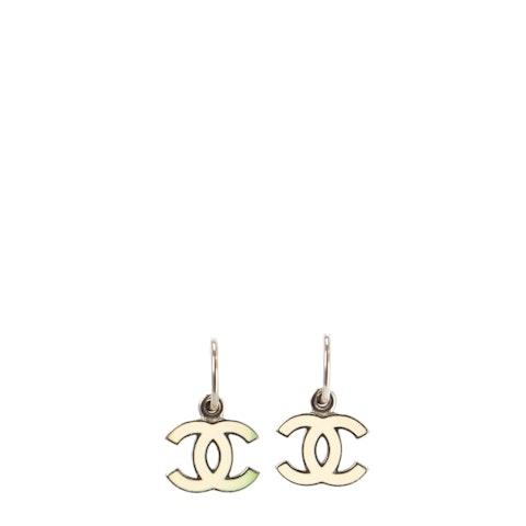 Silver-Toned Medium 'CC' Logo Earrings