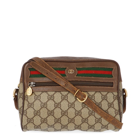 Gucci Brown Diamante Coated Canvas Ophidia Bag