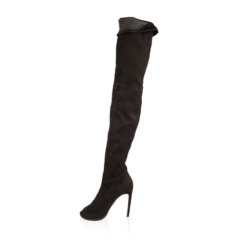 Flavio Castellani Black Suede Open Toe Over The Knee Boots 39