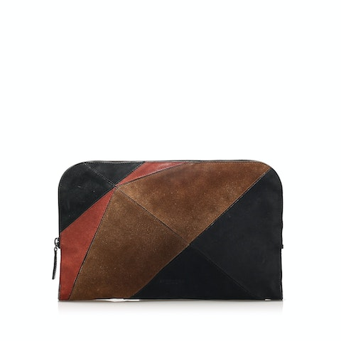 Patchwork Suede Clutch Bag