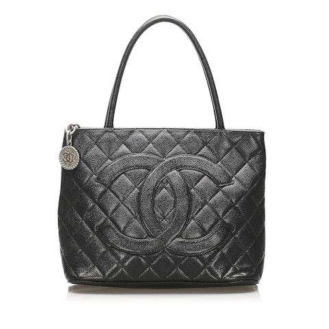Medallion Caviar Leather Tote Bag