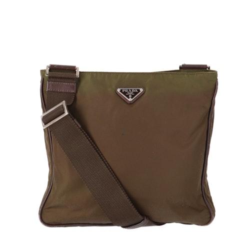 Green Nylon Crossbody Bag