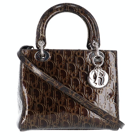 Brown Oblique Patent Leather Lady Dior