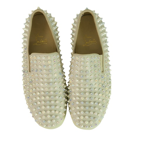 Christian Louboutin Off White Spike Slip-on Trainers