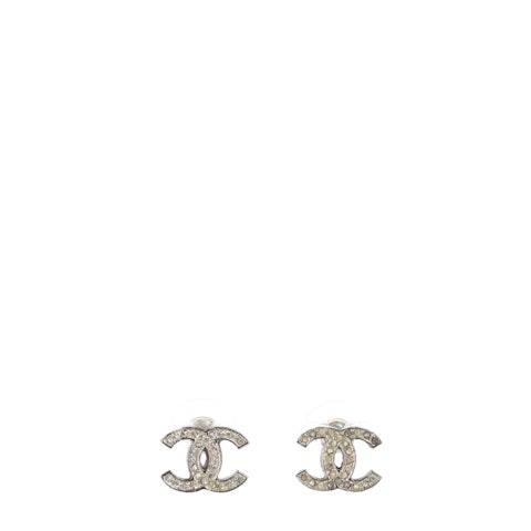 Silver Small 'CC' Rhinestone Earrings
