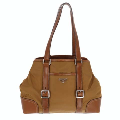 Brown Nylon Shoulder Bag